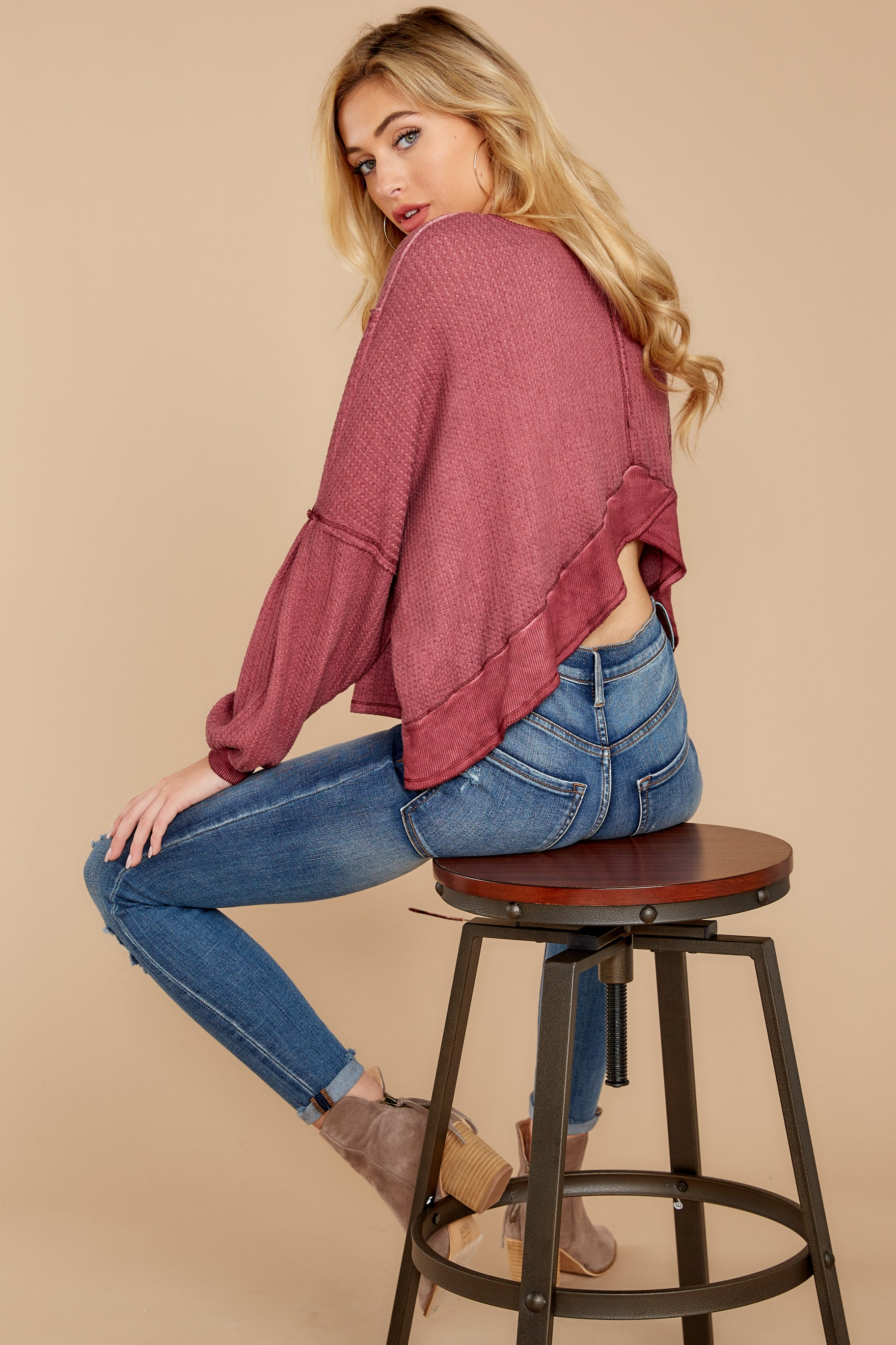 Let's Be Casual Rosewood Waffle Knit Top