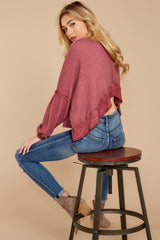 1 Let's Be Casual Rosewood Waffle Knit Top at reddress.com