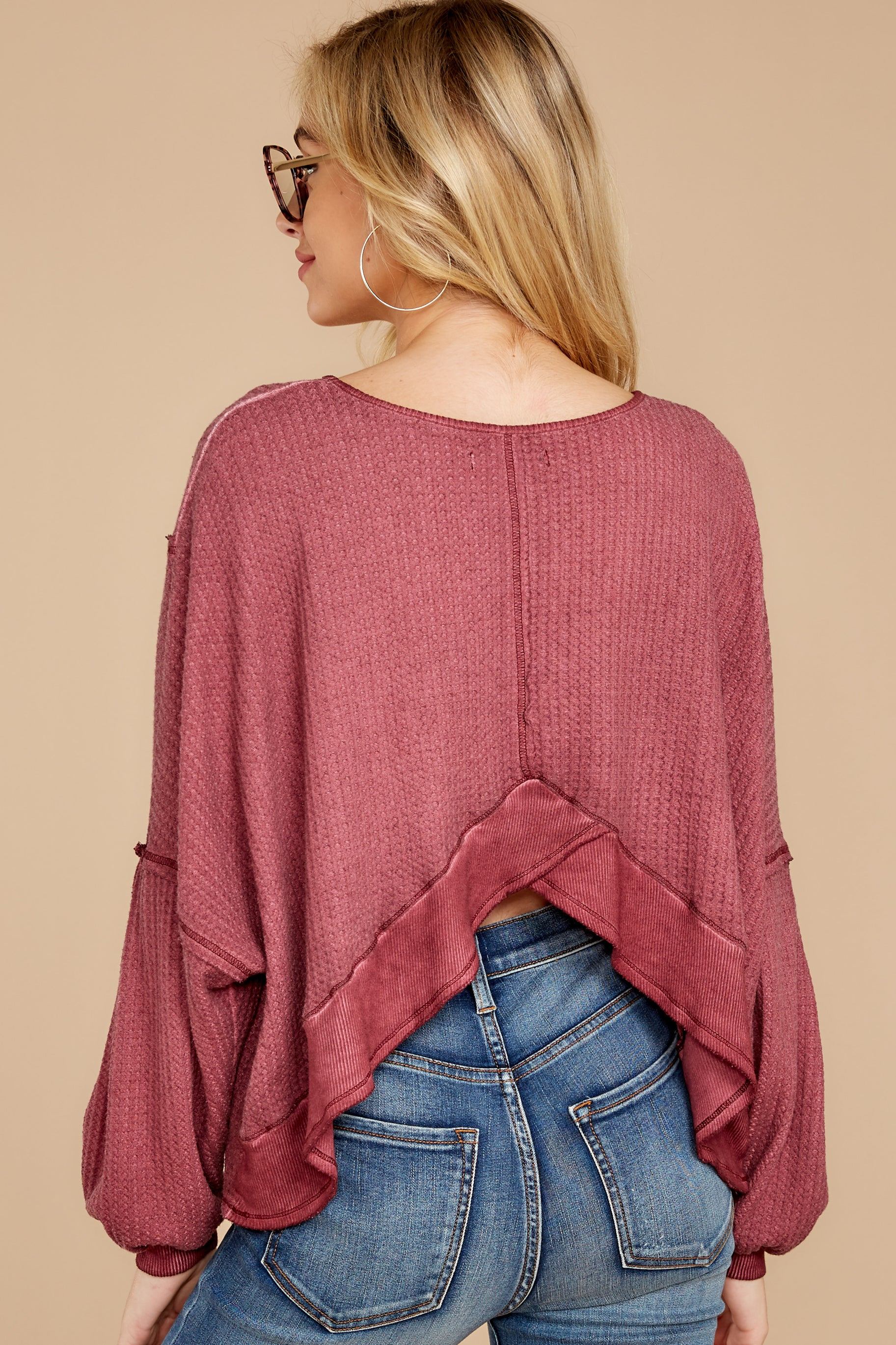 9 Let's Be Casual Rosewood Waffle Knit Top at reddress.com