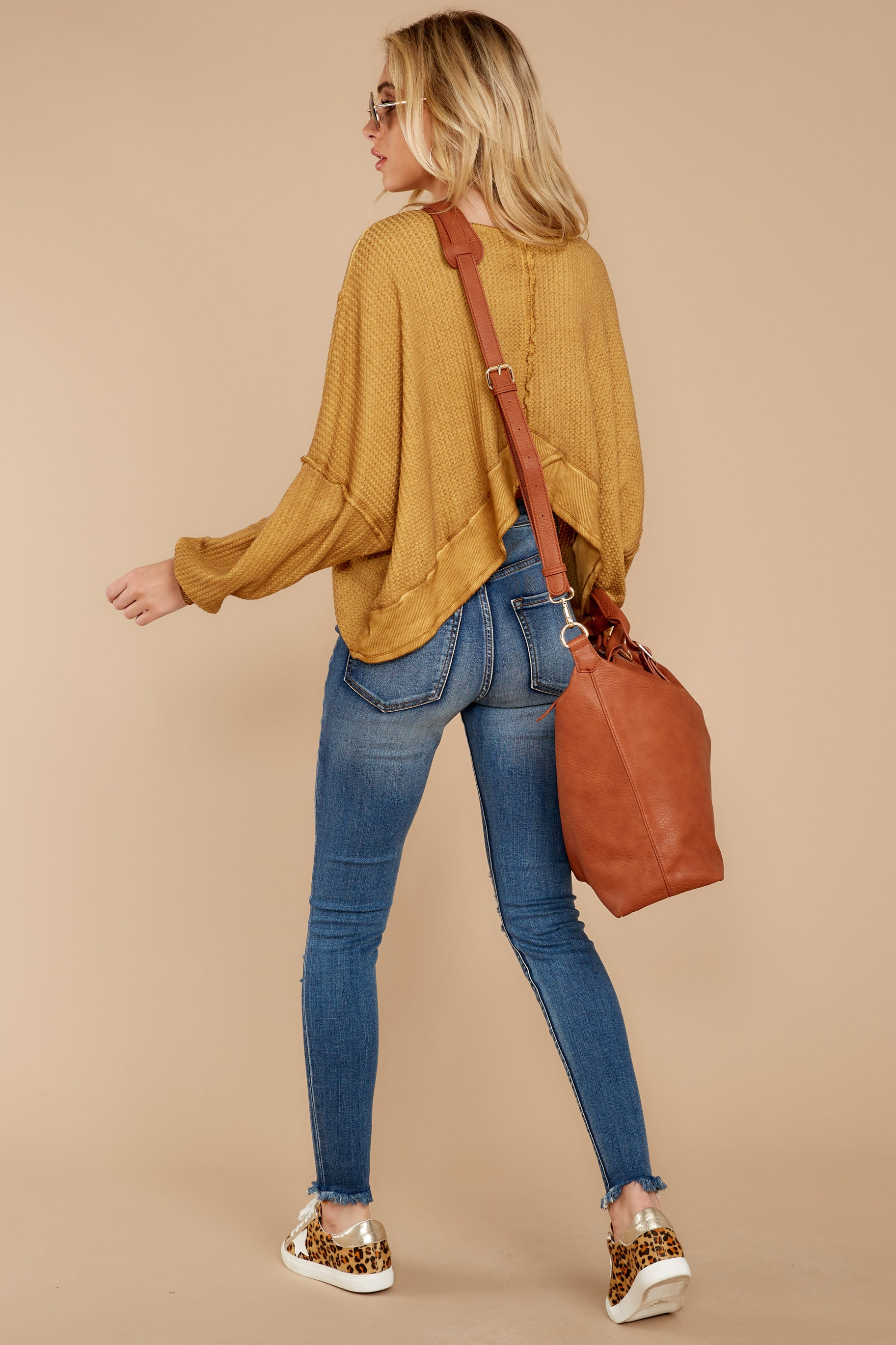 3 Let's Be Casual Goldenrod Waffle Knit Top at reddressboutique.com