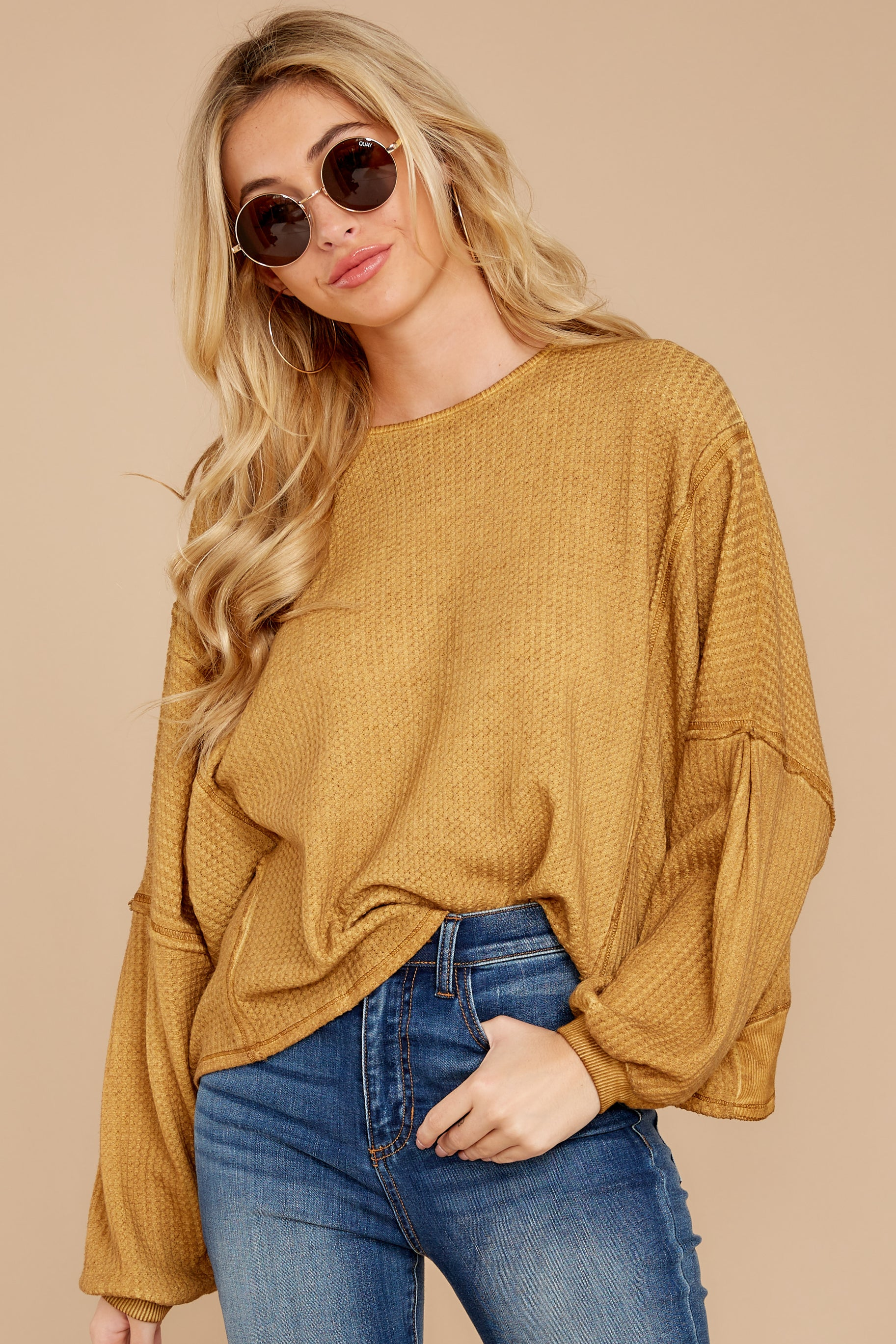 4 Let's Be Casual Goldenrod Waffle Knit Top at reddressboutique.com