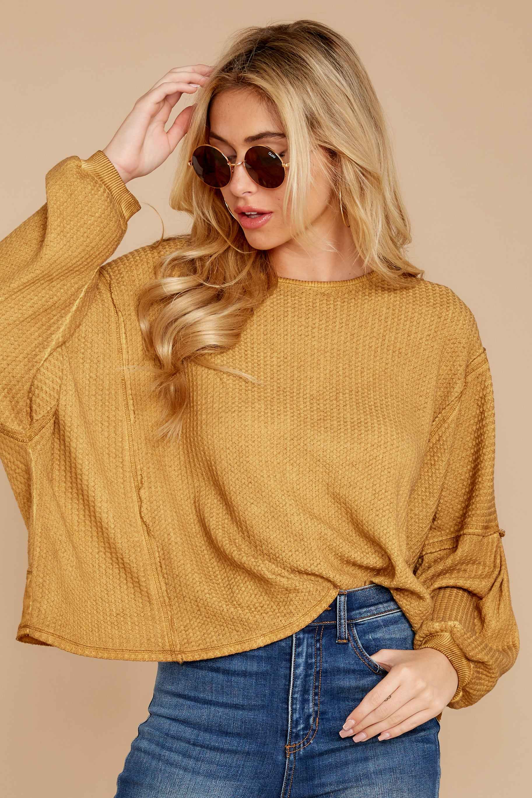 5 Let's Be Casual Goldenrod Waffle Knit Top at reddressboutique.com
