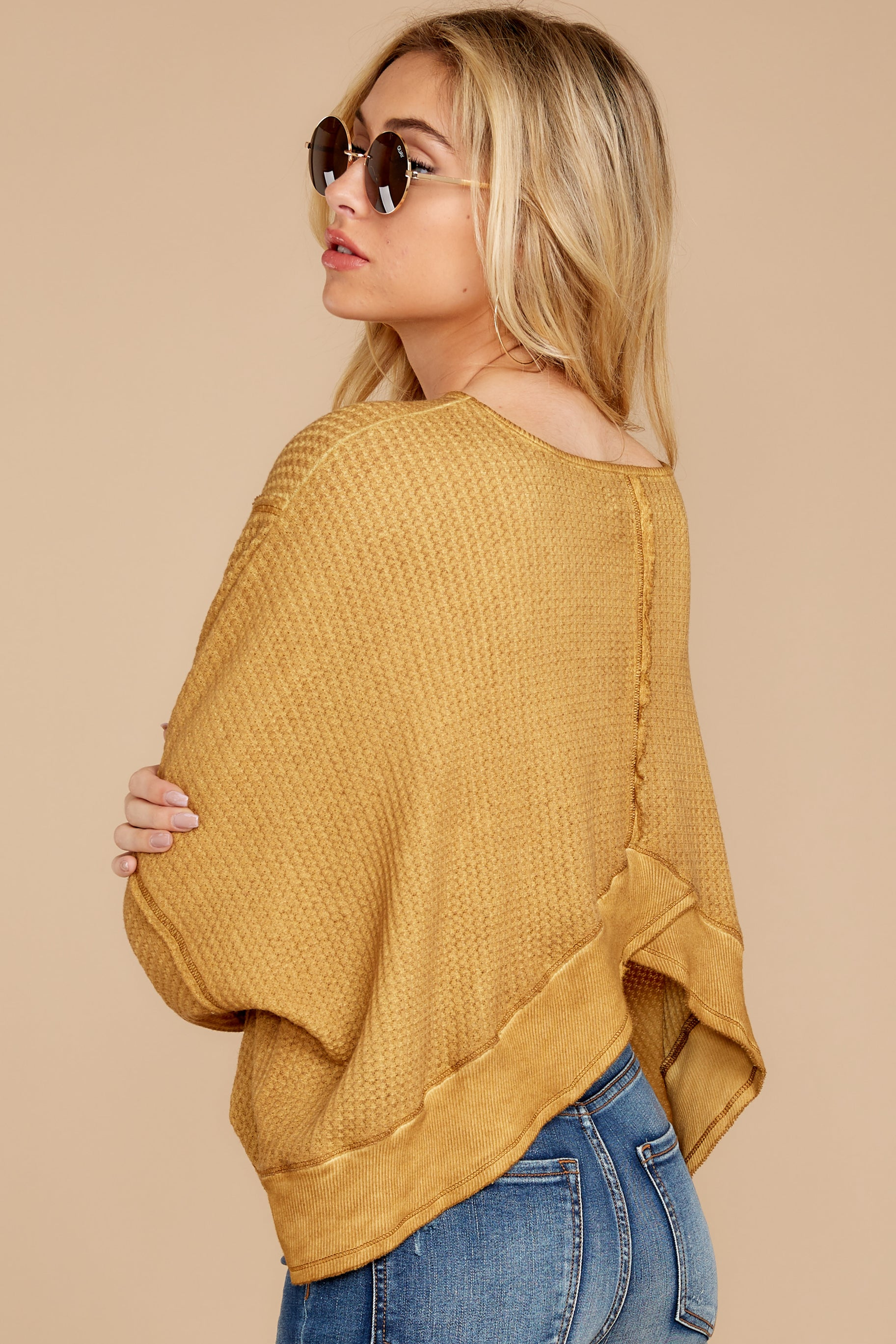 6 Let's Be Casual Goldenrod Waffle Knit Top at reddressboutique.com