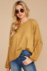 7 Let's Be Casual Goldenrod Waffle Knit Top at reddressboutique.com