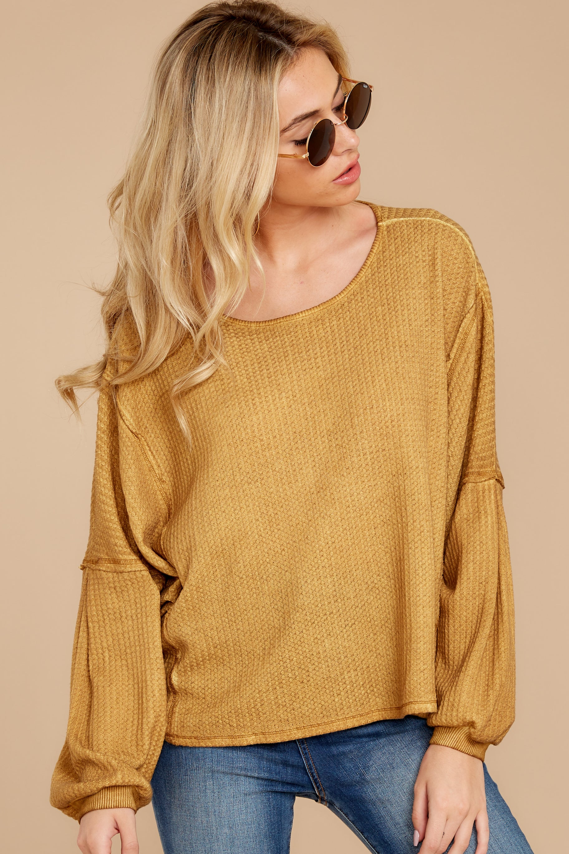 8 Let's Be Casual Goldenrod Waffle Knit Top at reddressboutique.com