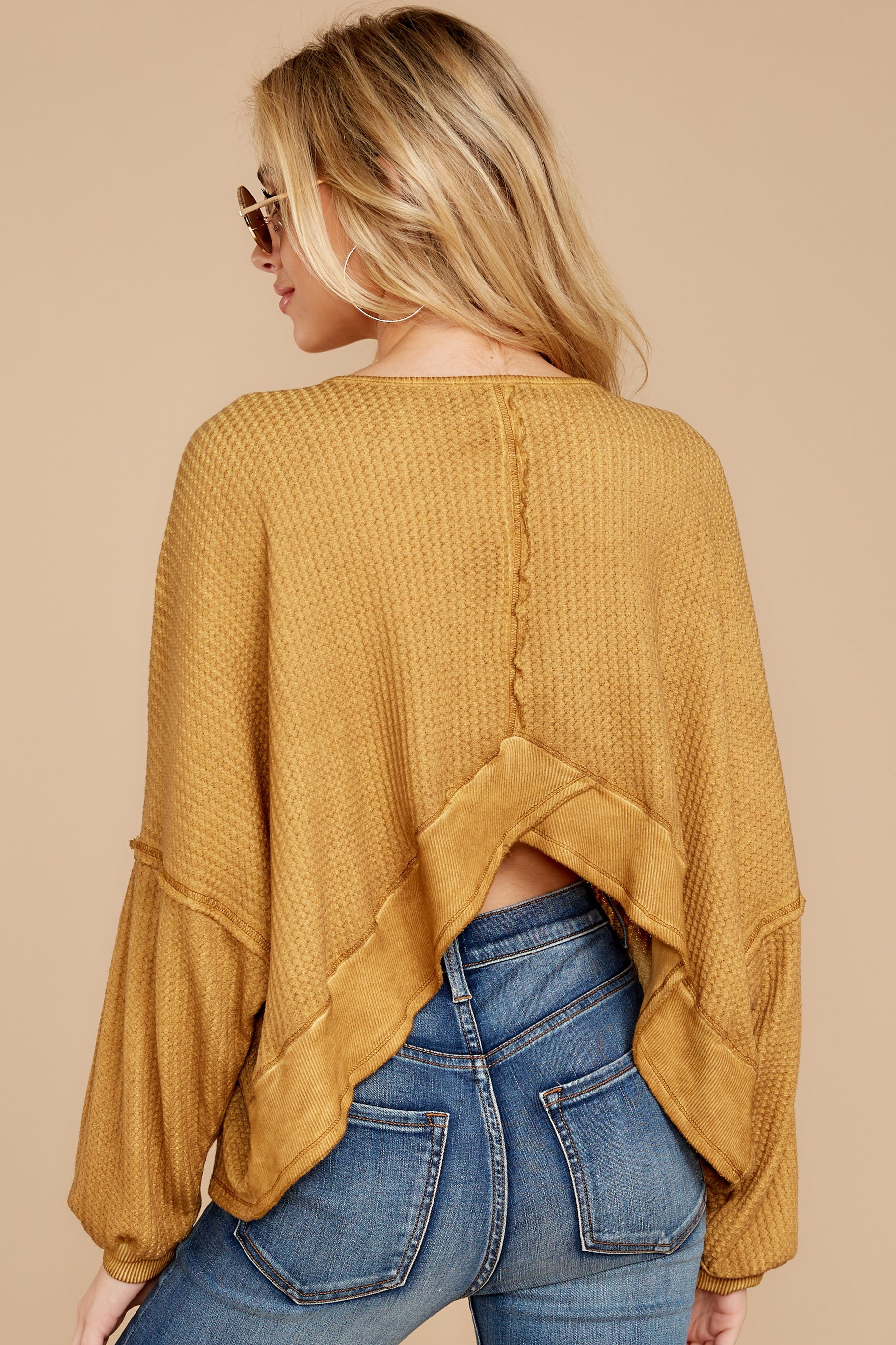 9 Let's Be Casual Goldenrod Waffle Knit Top at reddressboutique.com