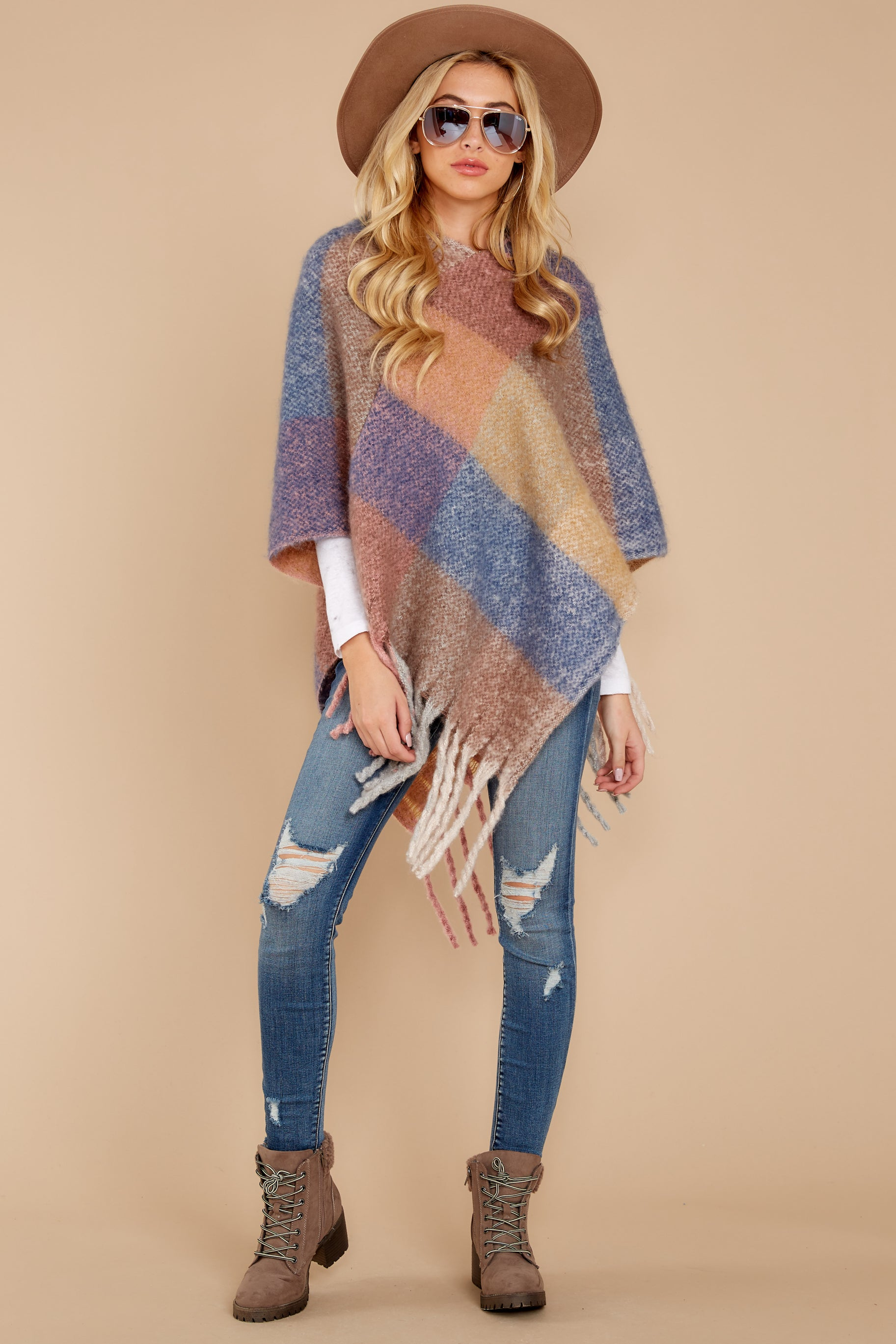 In The Wind Blue Multi Poncho