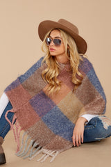 2 In The Wind Blue Multi Poncho at reddress.com