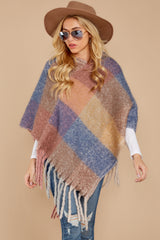6 In The Wind Blue Multi Poncho at reddress.com