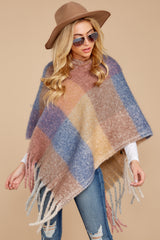 7 In The Wind Blue Multi Poncho at reddress.com