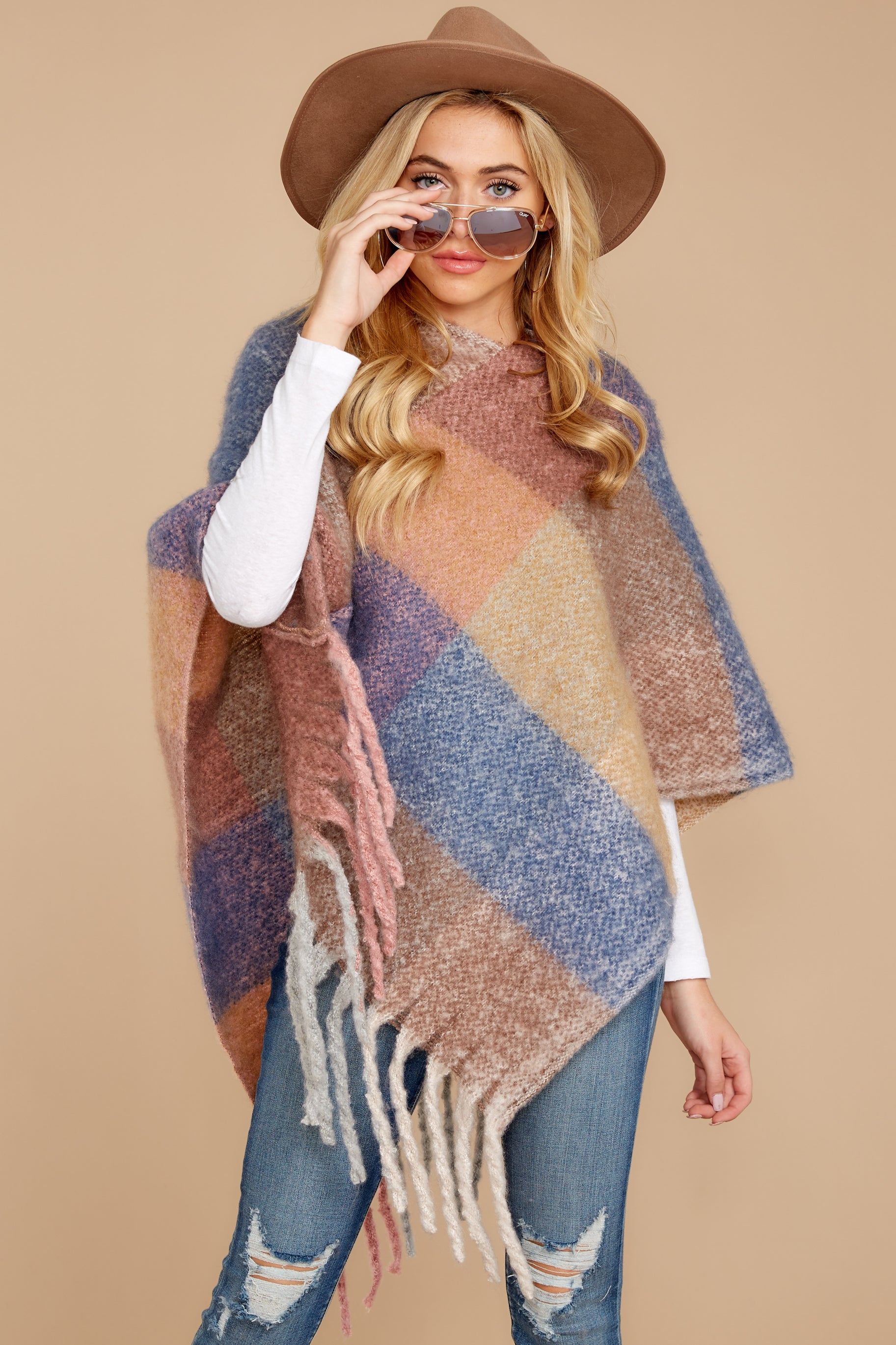 8 In The Wind Blue Multi Poncho at reddress.com