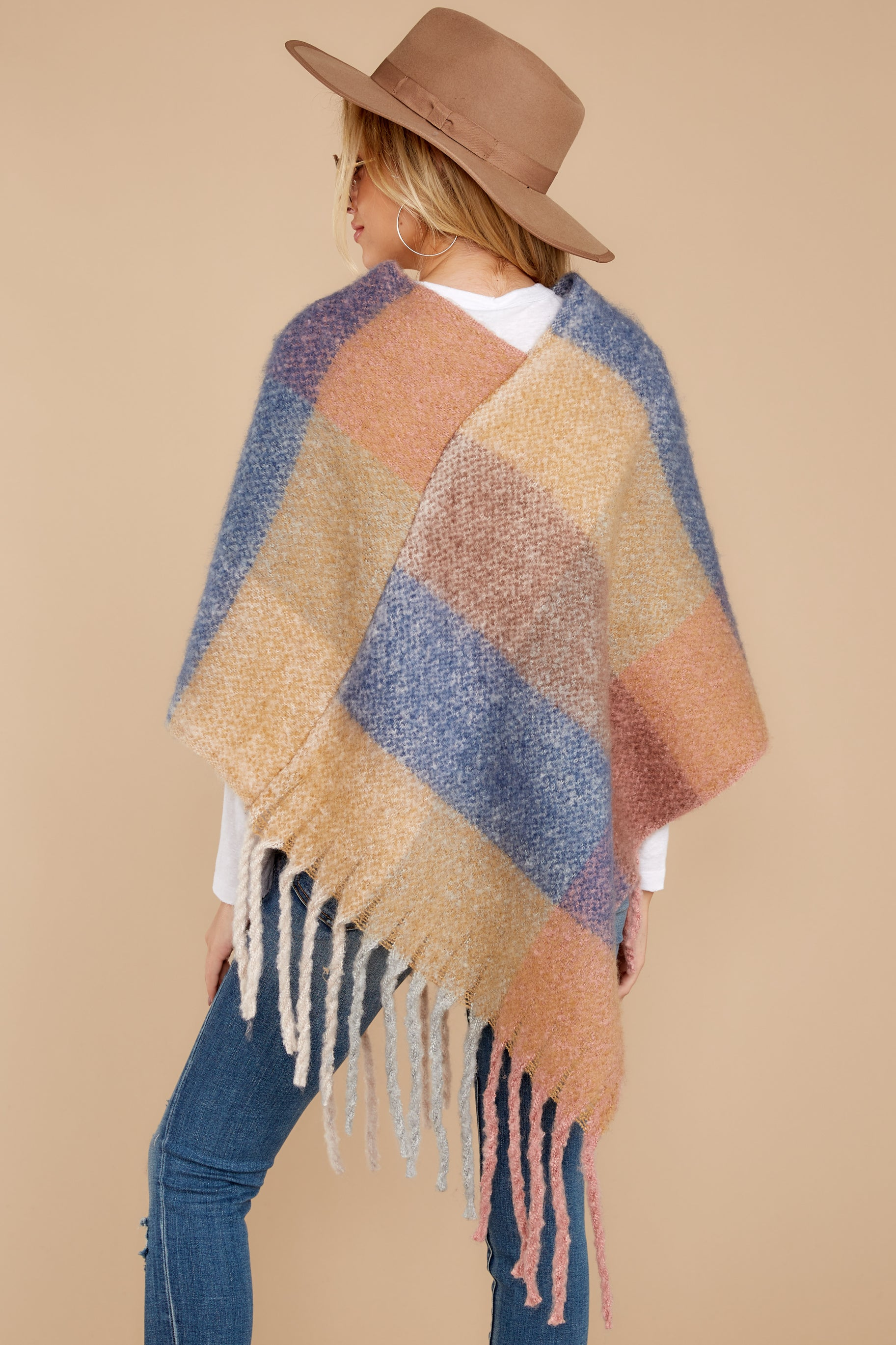 9 In The Wind Blue Multi Poncho at reddress.com