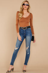 2 Secret Crush Camel Bodysuit at reddressboutique.com