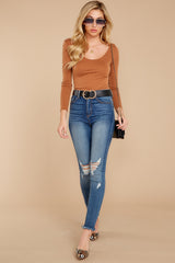 1 Secret Crush Camel Bodysuit at reddressboutique.com