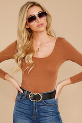 5 Secret Crush Camel Bodysuit at reddressboutique.com