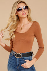 6 Secret Crush Camel Bodysuit at reddressboutique.com