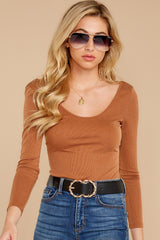 7 Secret Crush Camel Bodysuit at reddressboutique.com