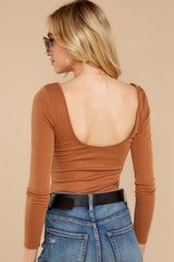 8 Secret Crush Camel Bodysuit at reddressboutique.com