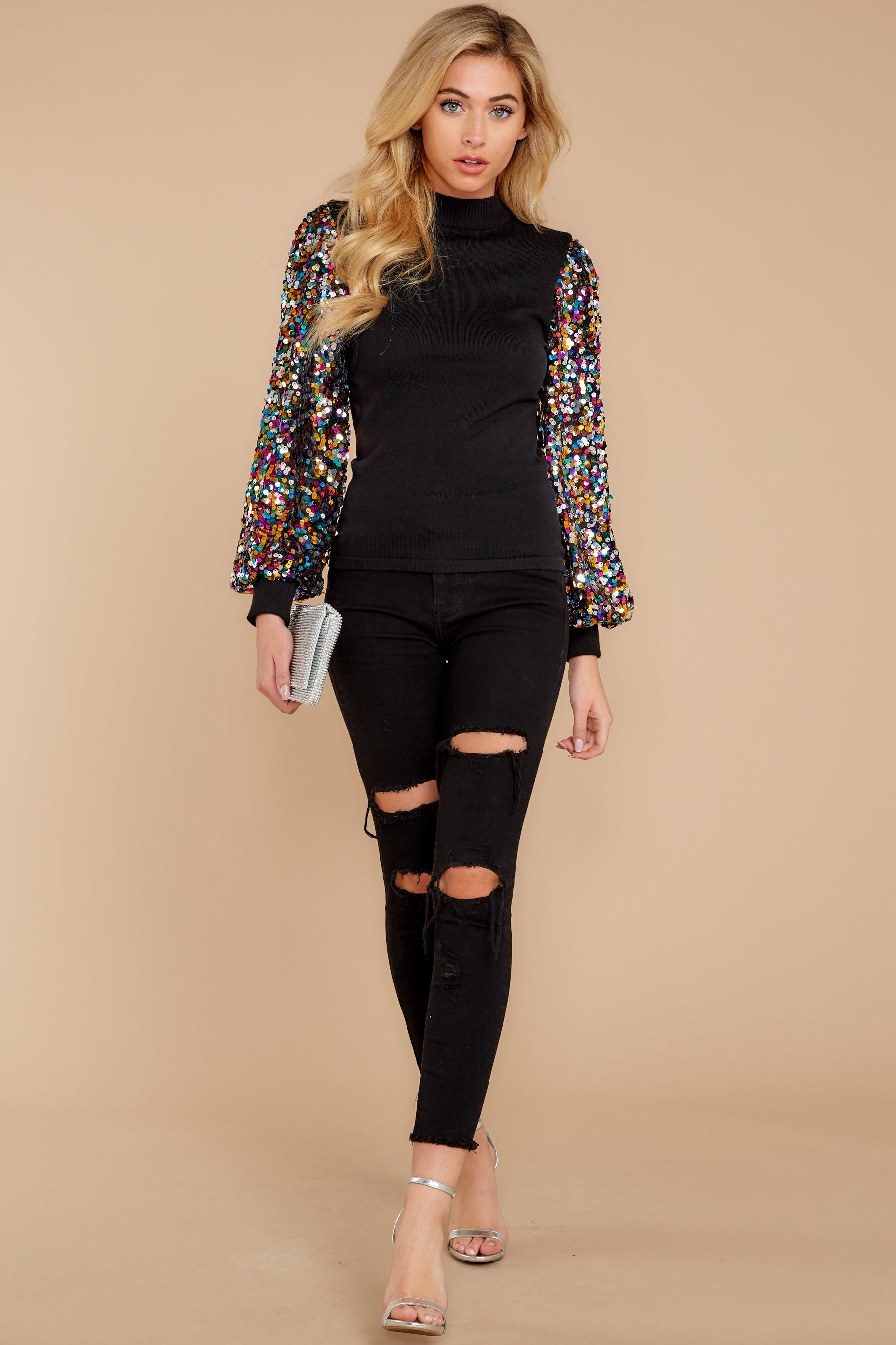 5 Manhattan Starlet Black Multi Sequin Top at reddressboutique.com