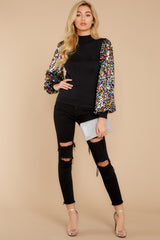 7 Manhattan Starlet Black Multi Sequin Top at reddressboutique.com