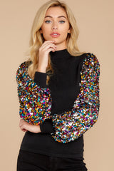 8 Manhattan Starlet Black Multi Sequin Top at reddressboutique.com