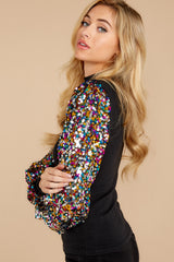 9 Manhattan Starlet Black Multi Sequin Top at reddressboutique.com