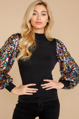 10 Manhattan Starlet Black Multi Sequin Top at reddressboutique.com