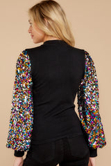 11  Manhattan Starlet Black Multi Sequin Top at reddressboutique.com
