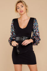 7 Moment To Shine Black Sequin Dress at reddress.com