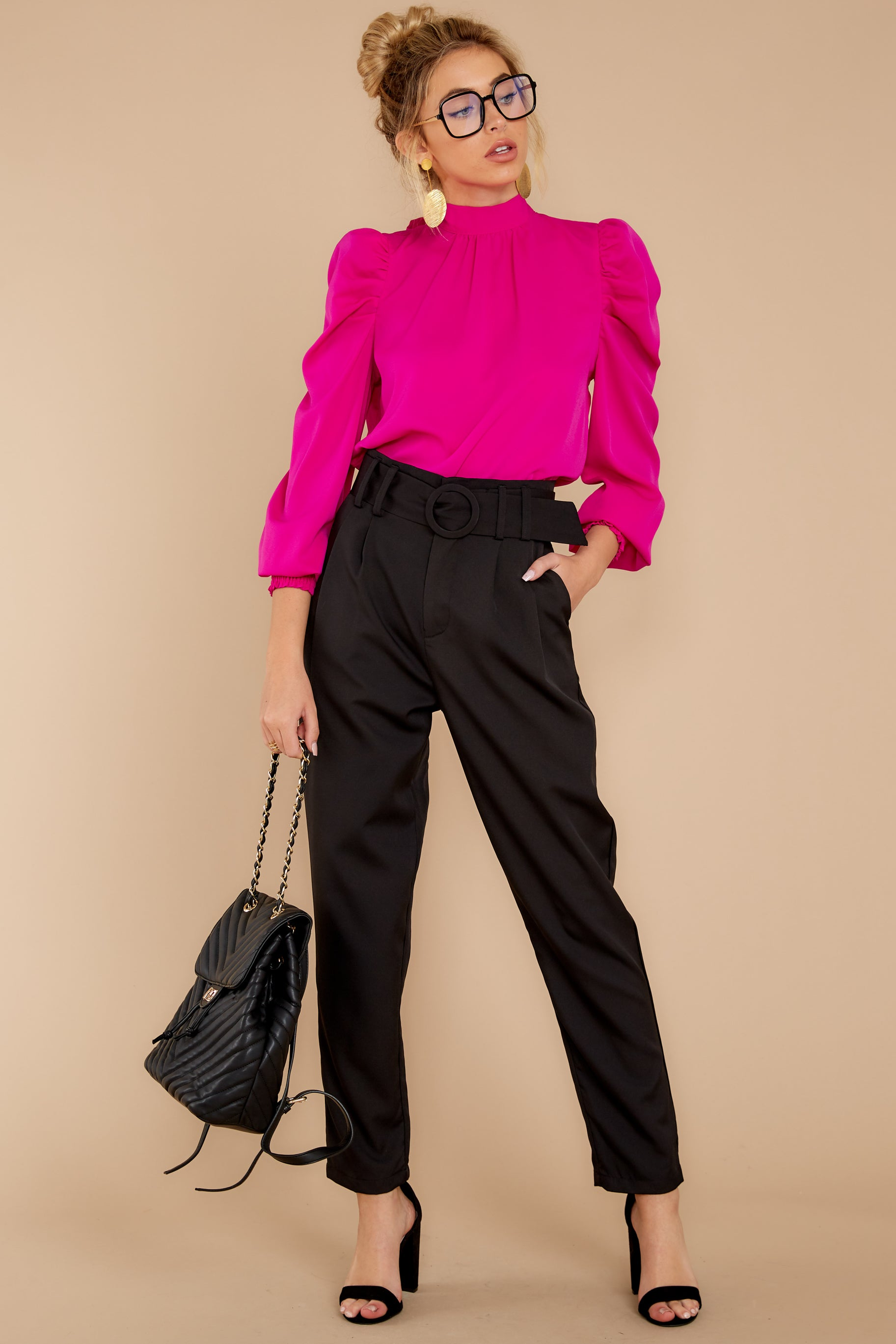 5 Into The Office Black Pants at reddressboutique.com