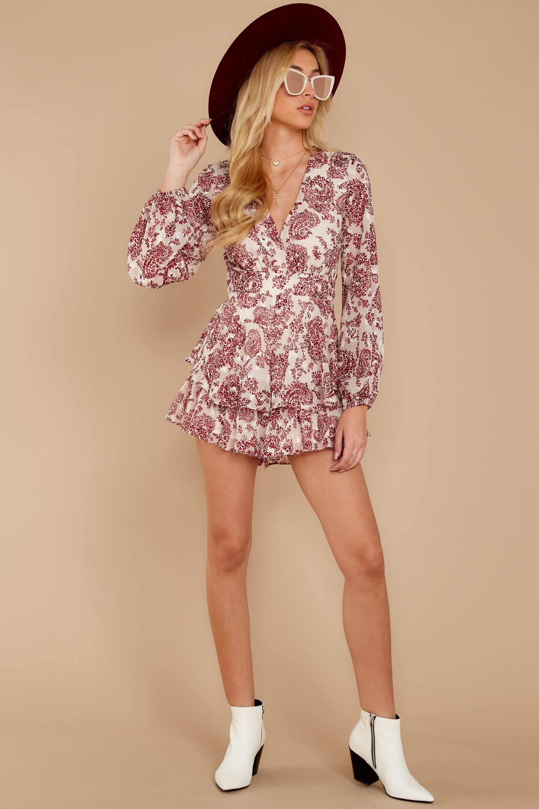 1 Called To Mind Ivory And Red Print Romper at reddressboutique.com