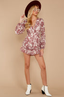Tall V-neck Floral Print Belted Sheer Hidden Back Zipper Tiered Long Sleeves Romper With Ruffles