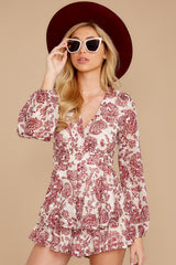 4 Called To Mind Ivory And Red Print Romper at reddressboutique.com