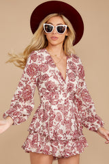 5 Called To Mind Ivory And Red Print Romper at reddressboutique.com