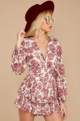 6 Called To Mind Ivory And Red Print Romper at reddressboutique.com