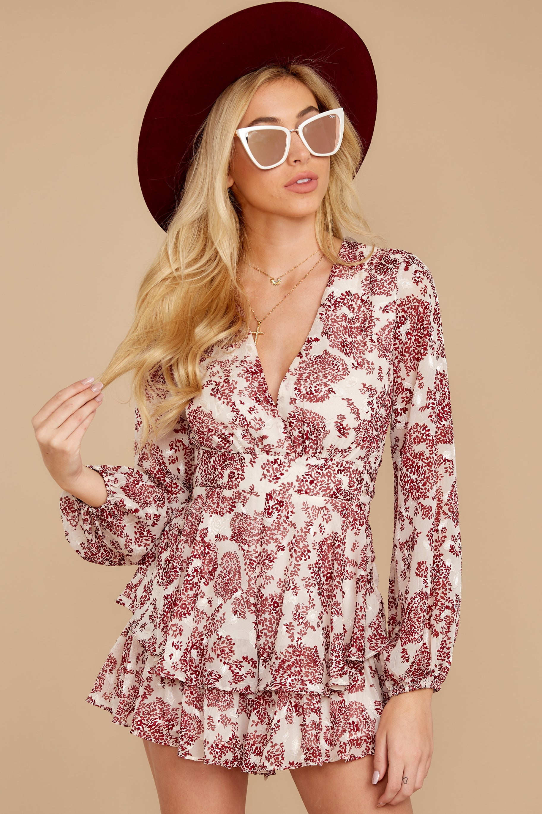 7 Called To Mind Ivory And Red Print Romper at reddressboutique.com