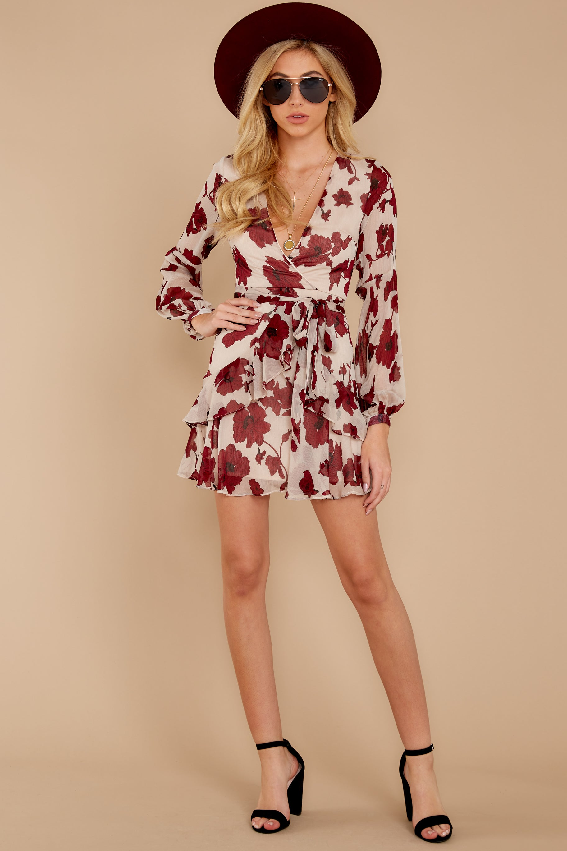 1 Simply Yours Burgundy Floral Print Dress at reddressboutique.com
