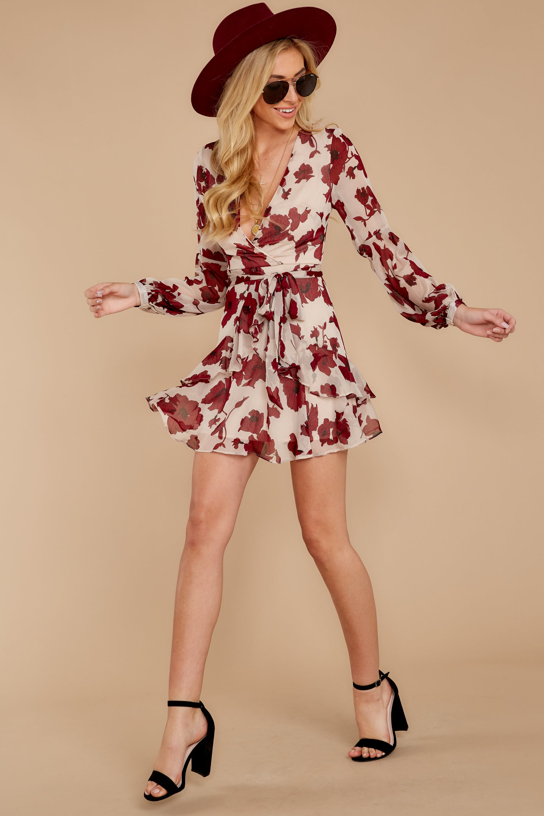2 Simply Yours Burgundy Floral Print Dress at reddressboutique.com