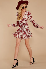 2 Simply Yours Burgundy Floral Print Dress at reddress.com