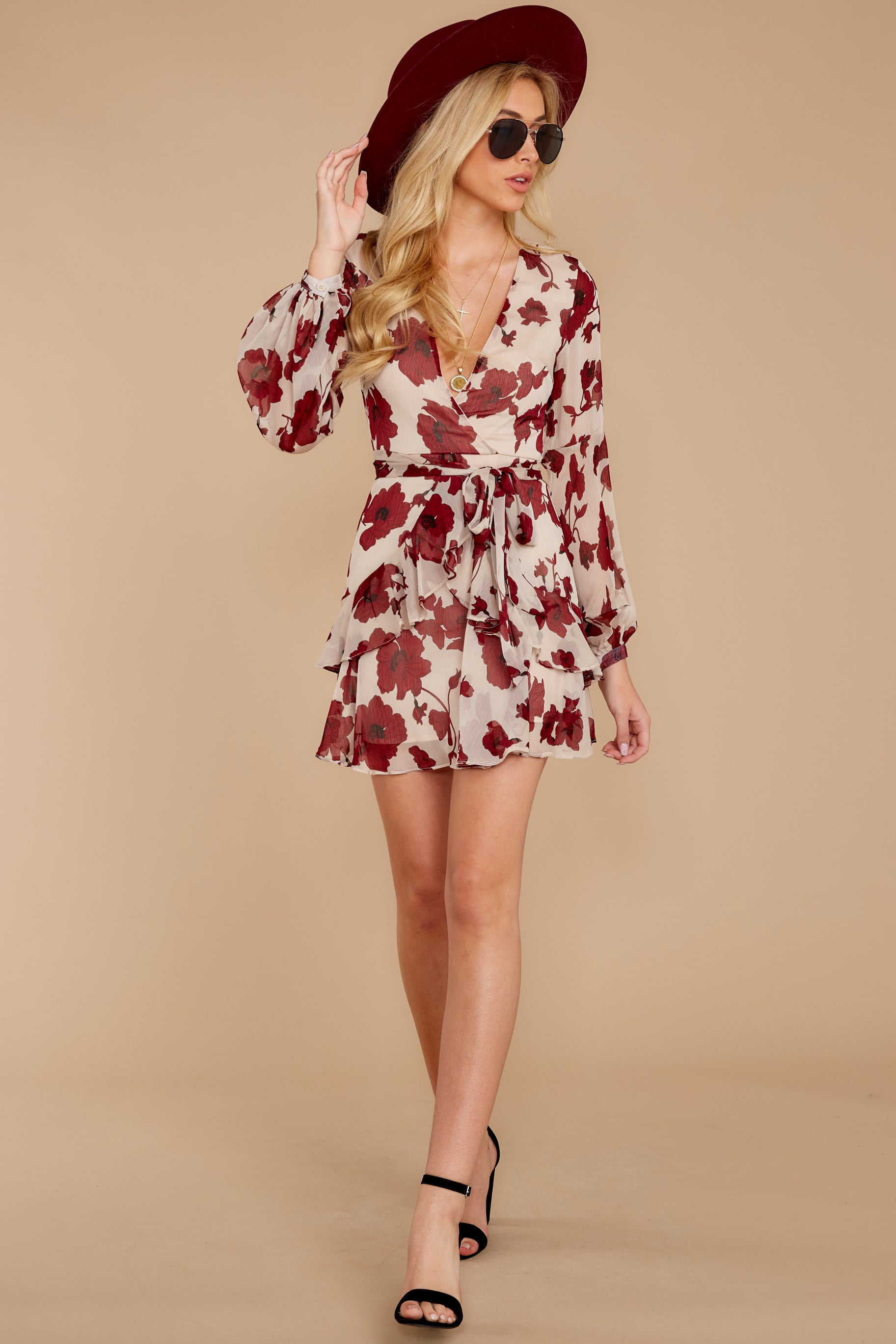 3 Simply Yours Burgundy Floral Print Dress at reddress.com