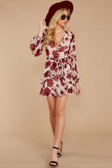 3 Simply Yours Burgundy Floral Print Dress at reddressboutique.com