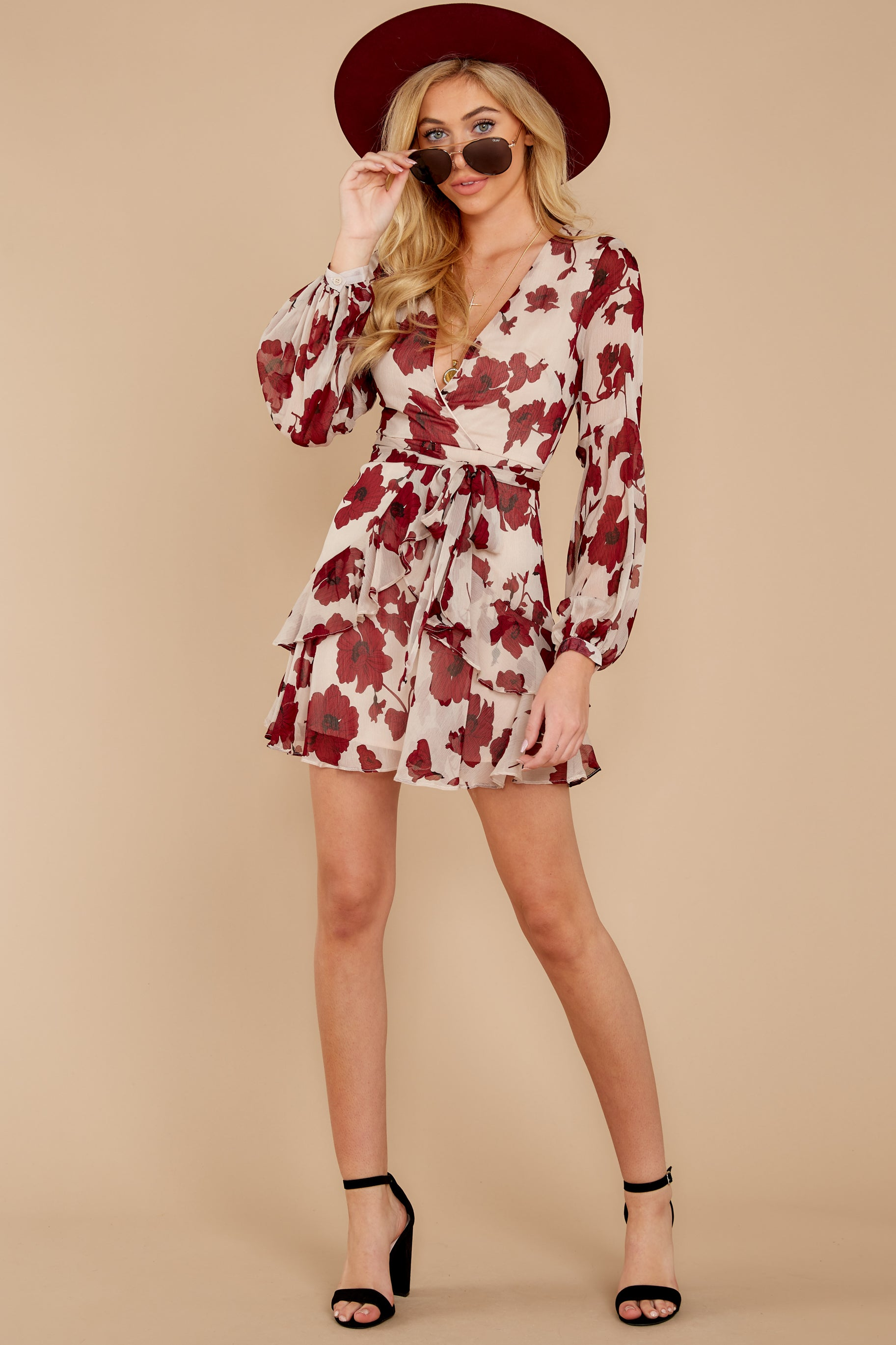 4 Simply Yours Burgundy Floral Print Dress at reddressboutique.com