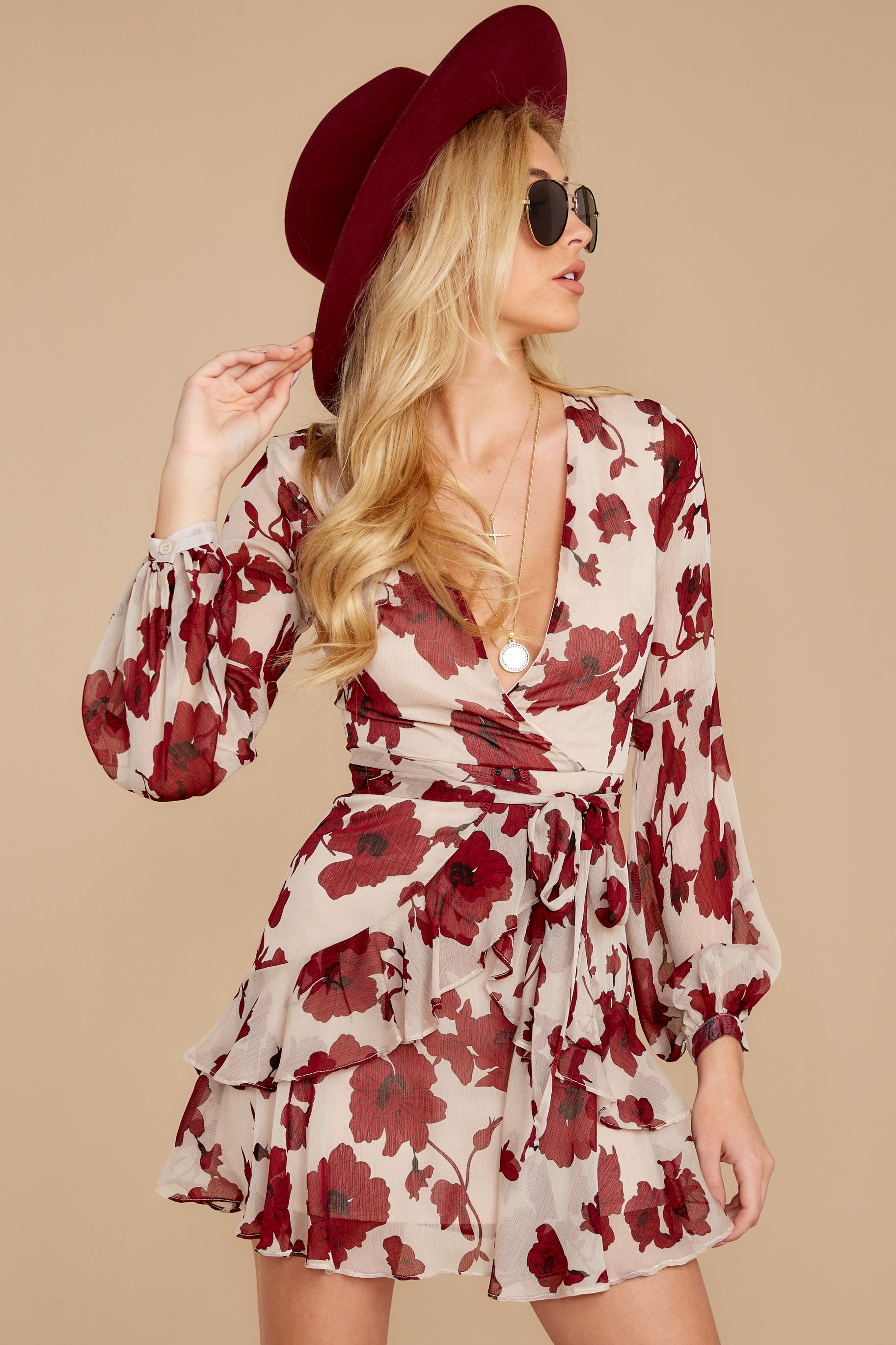 5 Simply Yours Burgundy Floral Print Dress at reddress.com