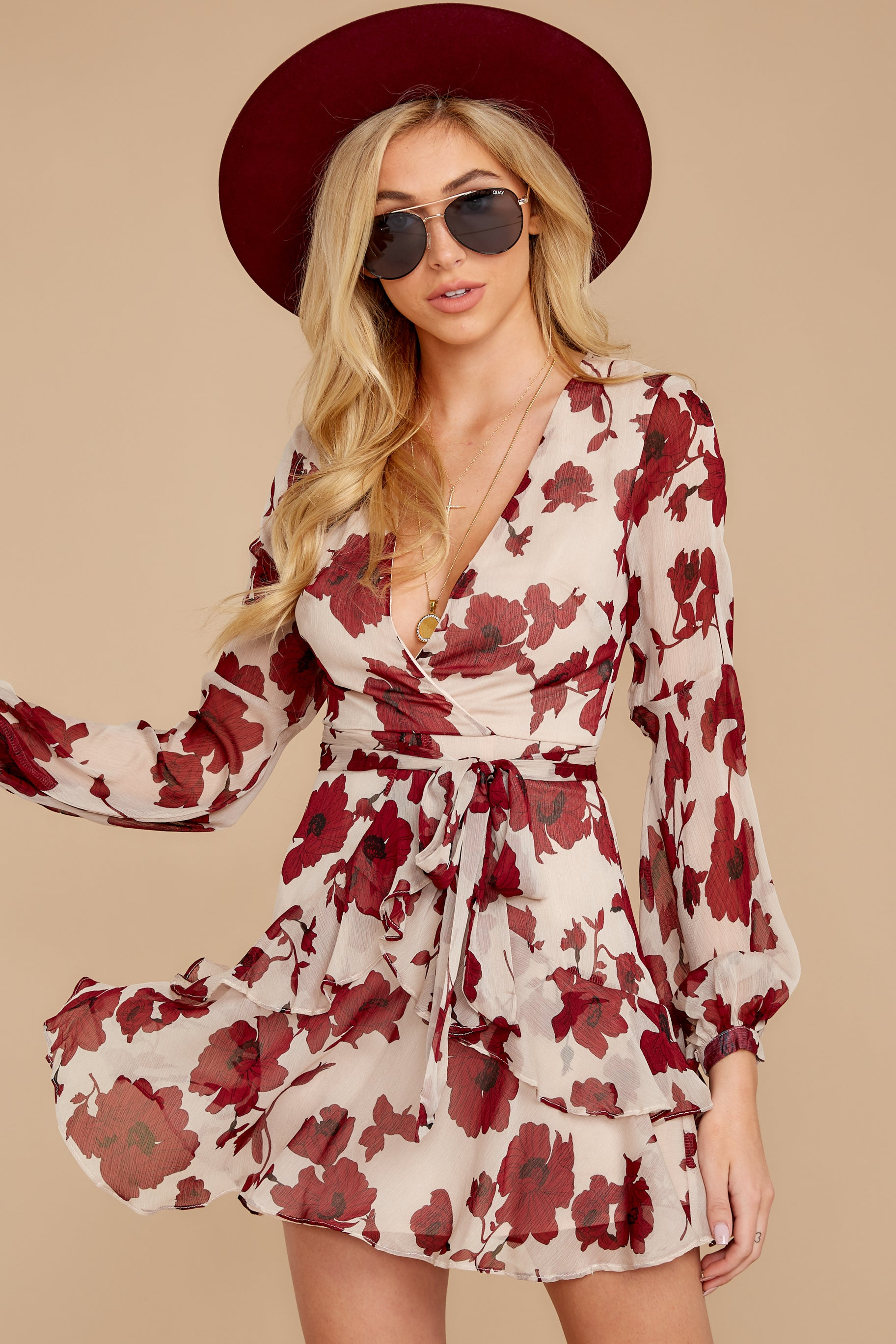 6 Simply Yours Burgundy Floral Print Dress at reddressboutique.com