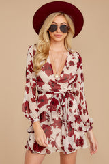 7 Simply Yours Burgundy Floral Print Dress at reddressboutique.com