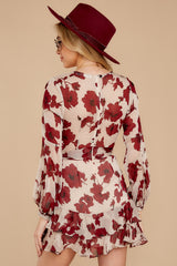 8 Simply Yours Burgundy Floral Print Dress at reddressboutique.com