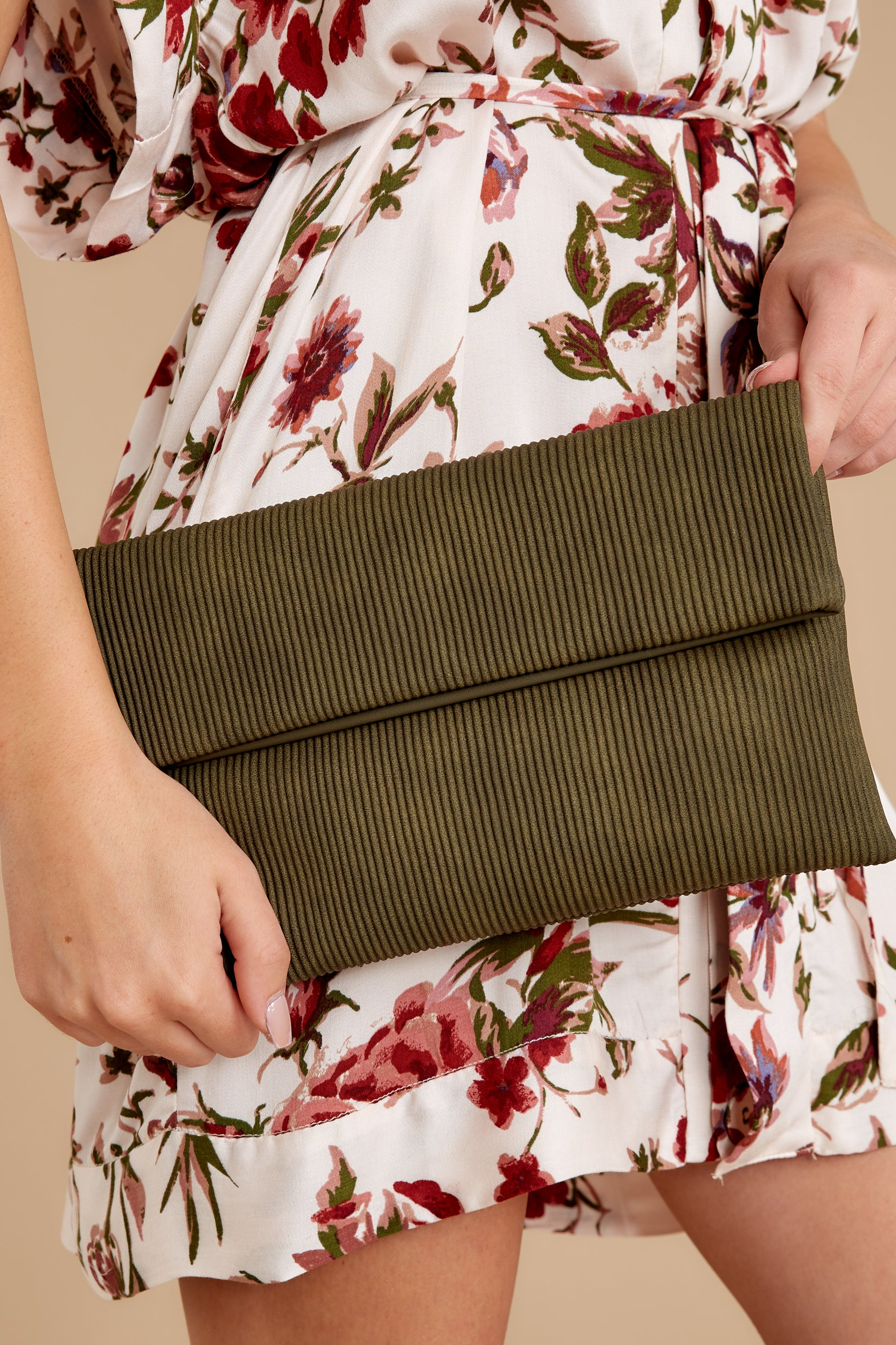 1 Professional Positivity Olive Clutch at reddressboutique.com