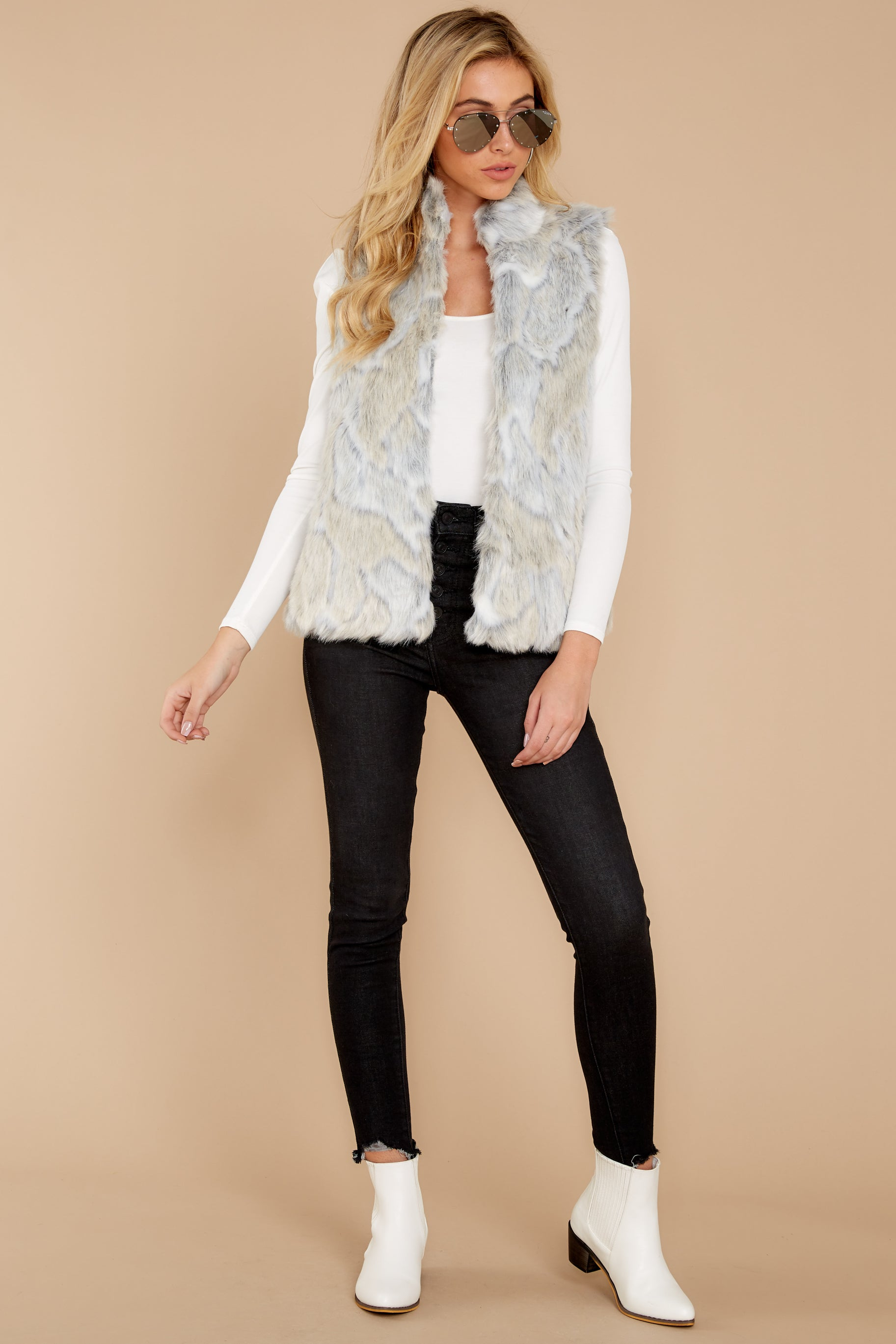 Blame It On Me Light Grey Vegan Fur Vest