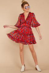 2 I'll Always Stay Red Floral Print Dress at reddressboutique.com