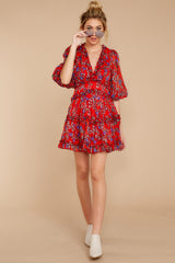 3 I'll Always Stay Red Floral Print Dress at reddressboutique.com